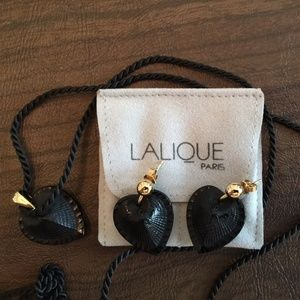 Lalique Heart Set with Pendant & Earrings